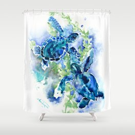 Sea Turtle Turquoise Blue Beach Underwater Scene Green Blue design Shower Curtain