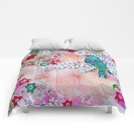 Little bird on branch Comforters
