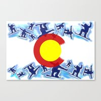 snowboard Canvas Prints featuring Colorado snowboard style flag  by Artistic Attitude