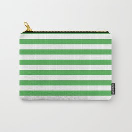 Even Horizontal Stripes, Green and White, M Carry-All Pouch