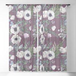 Winter anemones. Purple pattern Sheer Curtain