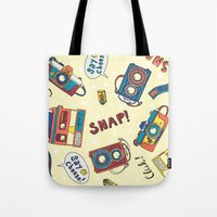 cameras Tote Bags featuring Cameras by Claire Lordon