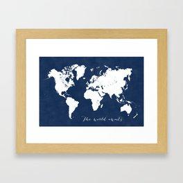 The world awaits world map Framed Art Print