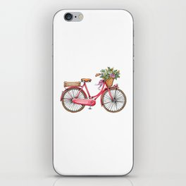 Cute watercolor vintage bike print. iPhone Skin