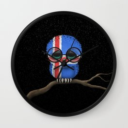 Baby Owl with Glasses and Icelandic Flag Wall Clock