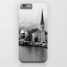 Views of Hallstatt II | Austria Travel Photography | Black and White Photo Print iPhone Case