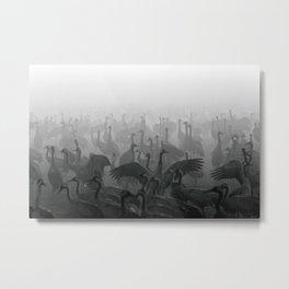 Cranes in the Fog Metal Print