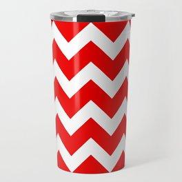 Chevron Red White Travel Mug