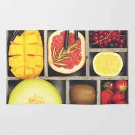 Fresh juices or smoothies with fruits and vegetables Rug