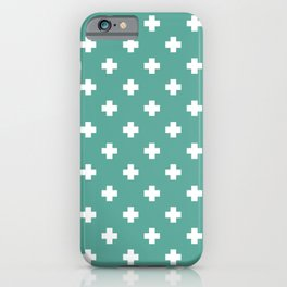 White Swiss Cross Pattern on Green Blue background iPhone Case