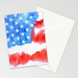 Print. Watercolor flag of America Stationery Cards