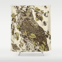 moth Shower Curtains featuring Great Horned Owl by Teagan White