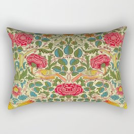 William Morris Roses Floral Textile Pattern Rectangular Pillow