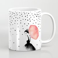 karen hallion Mugs featuring Polka Rain by Karen Hofstetter
