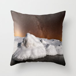 Zodiacal Light over Lake Michigan Ice Throw Pillow