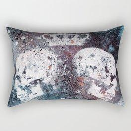 Black Queendom (spray paint graffiti art, crown with skulls) Rectangular Pillow