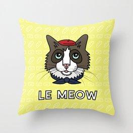 Le Meow Throw Pillow