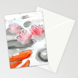 Sumie No.11 Koi and Lotus Flowers Stationery Cards