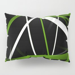 Seamless Grass Green and White Stripes on A Black Background Pillow Sham