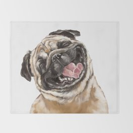 Happy Laughing Pug Decke