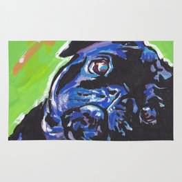 Black Pug Dog Portrait bright colorful Pop Art Painting by LEA Rug