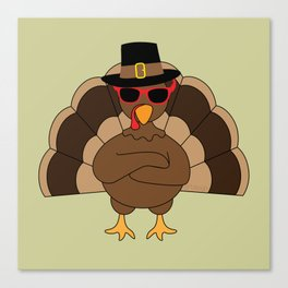 Cool Turkey with sunglasses Happy Thanksgiving Canvas Print