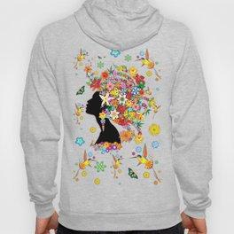 Hummingbird Kiss on Floral Girl  Hoody
