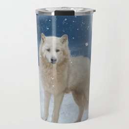 Awesome arctic wolf in the night Travel Mug