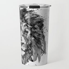 Black And White Half Faced Lion Travel Mug