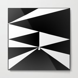 Triangles in Black and White Metal Print