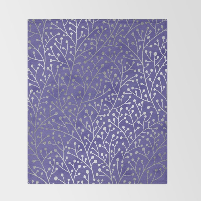 Periwinkle Berry Branches Throw Blanket By Catcoq Society40 Custom Periwinkle Throw Blanket