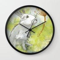 rabbit Wall Clocks featuring Rabbit by Melissa McGill