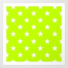 Stars (White/Lime) Art Print
