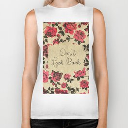 """Don't Look Back"" with Red Rustic Roses & Gold Biker Tank"