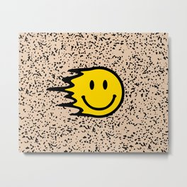 Smiley Face Slime on Leopard Print Background  Metal Print