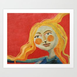 Yellow hair Art Print