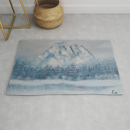 Snowy Mountain landscape. Winter Scene. Snowy forest. Perfect Christmas scenery and gift, original oil painting by Luna Smith Rug
