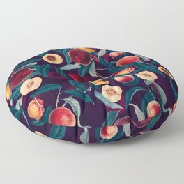 Nectarine and Leaf pattern Floor Pillow