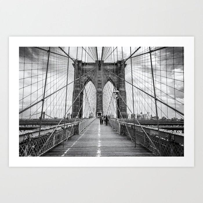 Brooklyn Bridge, New York City (rustic black & white) Art Print