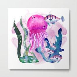 Pink watercolor jellyfish Metal Print