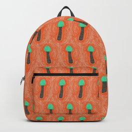 green mushroom with colorful stem floating in orange colored drawing by cecilia lee Backpack