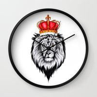 lion king Wall Clocks featuring Lion King by Libby Watkins Illustration
