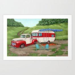 Patriotic Vintage Camper and Truck- Cropped Art Print