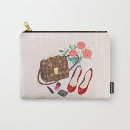Classic Friday Night, bag, shoes, flower, make up, lipstick art print, girly illustration Carry-All Pouch