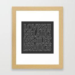Love Shine Laugh Kiss Hugs Typography Print Framed Art Print