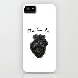 """Mon Coeur Noir "" (My Black Heart) - Original Artwork by Denise Sagun iPhone Case"
