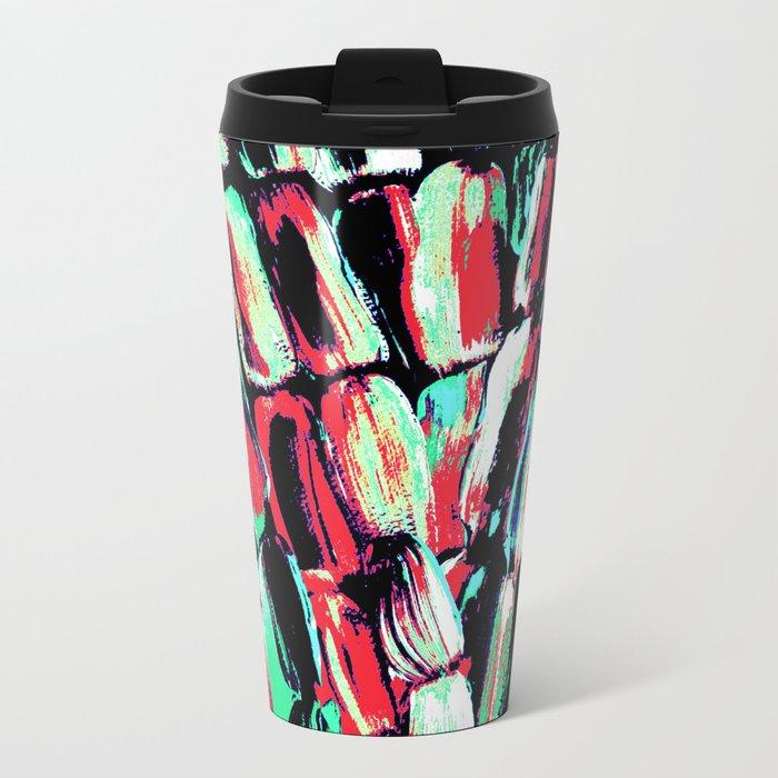 Teal Red Dreams of Sugarcane Metal Travel Mug