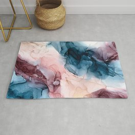 Pastel Plum, Deep Blue, Blush and Gold Abstract Painting Rug