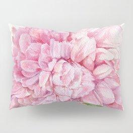 Pink Peony Floral Watercolor Detailed Botanical Garden Flower Realism Pillow Sham