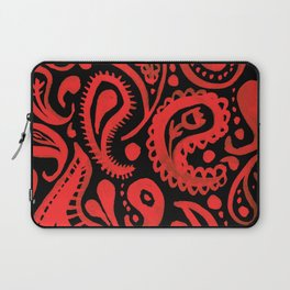 Handpainted Paisley Pattern Red and Black Color Laptop Sleeve